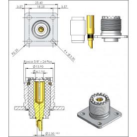 Conector UHF Fêmea Reto Painel - KF-41 - Gav 39 - KLC