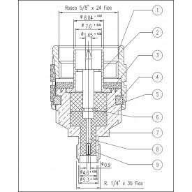 Adaptador de Conversão N Macho X SMA Fêmea - KLC-037 - Gav 60 - KLC