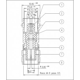 Adaptador de Conversão Spinner IEC 169-13 Macho X BNC Fêmea - KLC-053 - Gav 63 - KLC