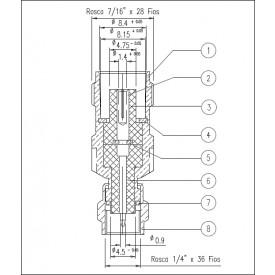 Adaptador de Conversão TNC Fêmea X SMA Macho - KLC-081 - Gav 52 - KLC
