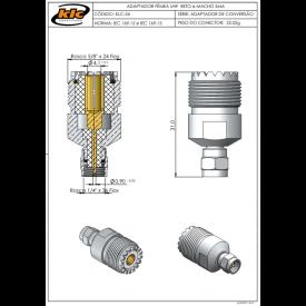 Adaptador de Conversão Fêmea UHF Reto e Macho SMA - KLC-54 - Gav 119