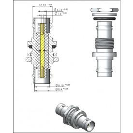 Adaptador BNC 50 OHMS Fêmea X Fêmea Reto Painel - LA-3 - Gav 9 - KLC