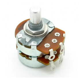 Potenciômetro Alpha 24mm Log Duplo A1MX2 Ω eixo liso alumínio com 8mm