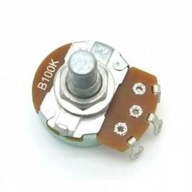 Potenciômetro Alpha 24mm Linear Duplo B100KX2 Ω eixo liso alumínio com 8mm