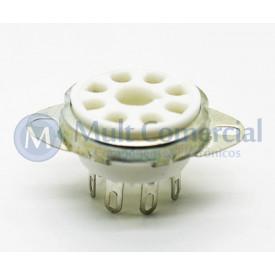 Soquete para Válvula de 8 Pinos (Octal) Cerâmico com anel de fixação (Solda Fio) - 8PINF
