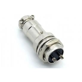 Conector Mike 2 Vias Macho para painel e Fêmea para cabo. JL33053/JL33054