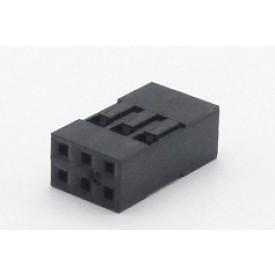Alojamento Fêmea JS-1105-02x3 Modu Duplo Passo 2.54mm com 6 vias - 2x3
