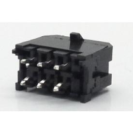 Conector Macho JS-3026-06 180º Micro fit passo 3.00mm 6 vias - 2x3