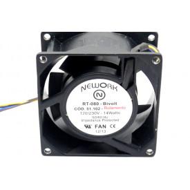Microventilador Cooler RT-080 Bivolt 120/230VDC 14 Watts (80x80x38mm) Rolamento - 51.102 - Nework