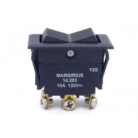 Interruptor de Tecla Plástica Bipolar 15A 14.203 LIGA/DESLIGA/LIGA JL25028 - Margirius