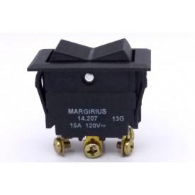 Interruptor de Tecla Plástica Bipolar 15A 14.207 LIGA/DESLIGA/(LIGA) Momentânea MFT1FP1Q - Margirius