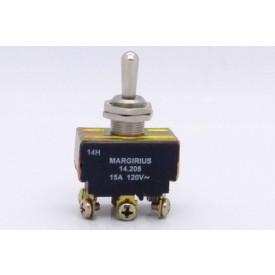 Interruptor de Alavanca Metálica Bipolar 15A 14.205 (LIGA)/DESLIG/(LIGA) Momentânea A1B1P1Q - Margirius