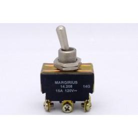 Interruptor de Alavanca Metálica Bipolar 15A 14.208 LIGA/(LIGA) Momentânea A1B1P1Q - Margirius