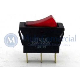 Interruptor de Tecla Unipolar ITU 10 LIGA/DESLIGA - Tecla Luminosa Neon Vermelho - Emicol