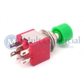 Chave Push-Button com 6 Terminais com Tampa Vermelha 5A 250V DS-622 - Verde