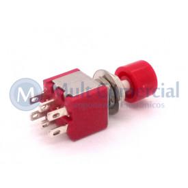 Chave Push-Button com 6 Terminais com Tampa Vermelha 5A 250V DS-622 - Vermelho
