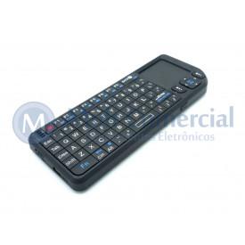 Teclado Wireless Ultra Mini com Touchpad e Laser Point integrado e Luz de fundo.