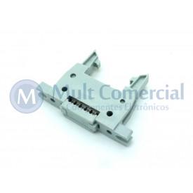 Conector Header com ejetor e fixação para Flat Cable IDC 10 Vias DS1012-10LMN2A8