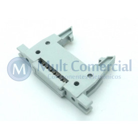 Conector Header com ejetor e fixação para Flat Cable IDC 14 Vias DS1012-14LMN2A8