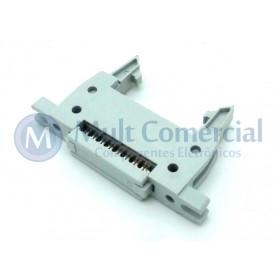 Conector Header com ejetor e fixação para Flat Cable IDC 16 Vias DS1012-16LMN2A8