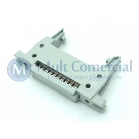 Conector Header com ejetor e fixação para Flat Cable IDC 20 Vias DS1012-20LMN2A8
