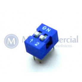 Chave Dip Switch 180° 2 Vias DS1040-2BN - Connfly