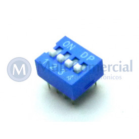 Chave Dip Switch 180° 4 Vias DS1040-4BN - Connfly
