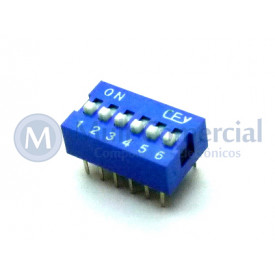 Chave Dip Switch 180° 6 Vias DS1040-6BN - Connfly