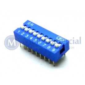 Chave Dip Switch 180° 9 Vias DS1040-9BN - Connfly