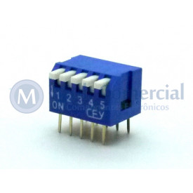 Chave Dip Switch Piano 90° 5 Vias DS1040-5BT - Connfly