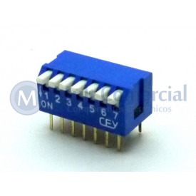 Chave Dip Switch Piano 90° 7 Vias DS1040-7BT - Connfly