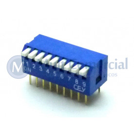 Chave Dip Switch Piano 90° 9 Vias DS1040-9BT - Connfly