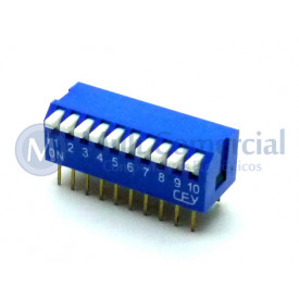 Chave Dip Switch Piano 90° 10 Vias DS1040-10BT - Connfly