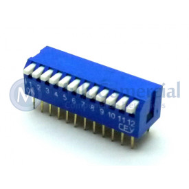Chave Dip Switch Piano 90° 12 Vias DS1040-12BT - Connfly