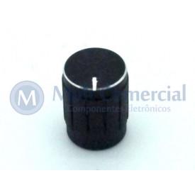 Knob de alumínio para potênciometro de eixo estriado - A13x17 - Preto