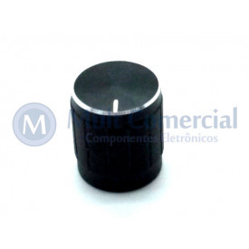 Knob de alumínio para potênciometro de eixo estriado - A15x17 - Preto