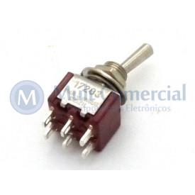 Interruptor de Alavanca Metálica Bipolar Solda Fio 5A 17.203 LIGA/DESLIGA/LIGA - Margirius