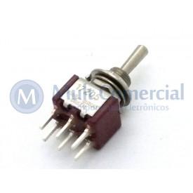 Interruptor de Alavanca Metálica Bipolar (PCI) 5A 17.205 (LIGA)/DESLIGA/(LIGA) Momentânea - Margirius
