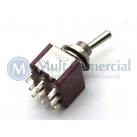 Interruptor de Alavanca Metálica Tripolar Solda Fio 5A 17.308 LIGA/(LIGA) Momentânea - Margirius