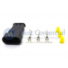 Conector Selado Automotivo 3 Vias Macho - LW-66501S0331