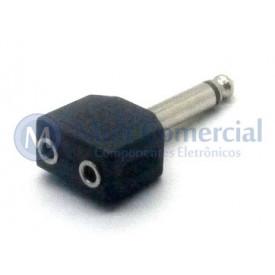 Plug adaptador  J2 Fêmea Mono Duplo para P10 Macho Mono - JL26078