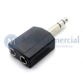 Plug adaptador  P10 Fêmea Estéreo Duplo para P10 Estéreo Macho - JL16038A