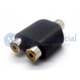 Plug adaptador RCA Fêmea Duplo para RCA Fêmea - JL16049
