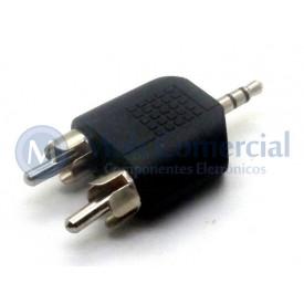 Plug adaptador RCA Macho Estéreo Duplo para P2 Estéreo Macho 3.5mm - JD-W8012