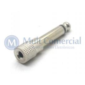 Plug adaptador Metálico P2 Mono Fêmea para P10 Mono Macho - JL16090B