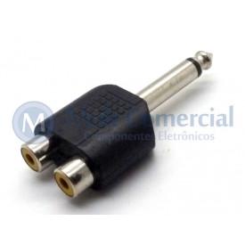 Plug adaptador RCA Fêmea Duplo para P10 Mono Macho - JD-W8027