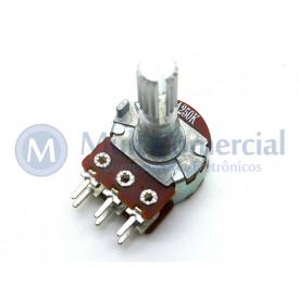 Potenciômetro Duplo 17mm Log 16T1-100KAX2 Ω eixo Estriado alumínio com 20mm