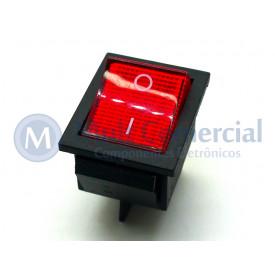Interruptor de Tecla Plástica Bipolar KCD4-201N 15A 250V  LIGA/DESLIGA  - Vermelho