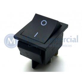 Interruptor de Tecla Plástica Bipolar KCD4-201N 15A 250V  LIGA/DESLIGA  - Preto