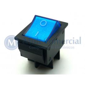 Interruptor de Tecla Plástica Bipolar KCD4-201N 15A 250V  LIGA/DESLIGA  - Azul